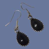 Monet Tear Drop Black Pierced Earrings