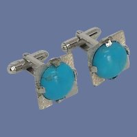 Aqua Blue Stone Silver Tone Cufflinks Cuff Links