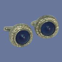 Silver Tone Round Blue Stone Cufflinks Cuff Links