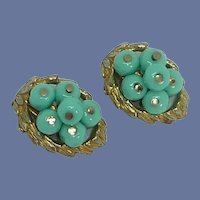 Robin Blue Beads in Gold Tone Setting Clip On Earrings