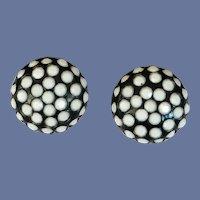 Black Domed Clip On Earrings White Polka Dots