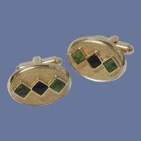 Dante Onyx & Jade Stone Gold Tone Cufflinks Cuff Links