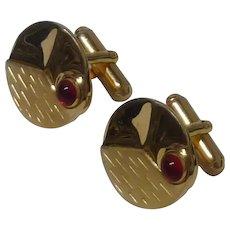 Anson Gold Tone Red Glass Cufflinks Cuff Links