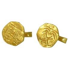 Gold Tone Faux Gold Coins Cufflinks Cuff Links