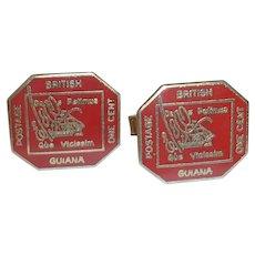 Red One Cent British Postage Stamp Cufflinks Cuff links