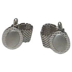 Silver Tone Oval Wrap Around Cufflinks Cuff Links