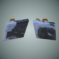 Black Moss Agate Diamond Shape Screw Earrings