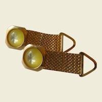 Gold Tone Canary Yellow Glass Wrap Around Cuff Links Cufflinks