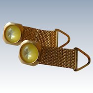 Gold Tone Canary Yellow Glass Wrap Around Cuff Links Cufflinks