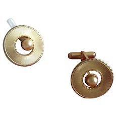 Brushed Gold Tone with Faux Offset Pearl Cuff Links Cufflinks
