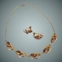 Van Dell Gold Filled Amber Rhinestone Necklace Choker and Earrings