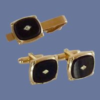 Mid Century Black Gold Tone Setting with Rhinestone Cufflinks Cuff Links