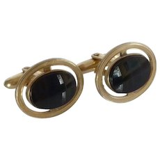 Hadley Black Onyx Stone in Gold Tone Cufflinks Cuff Links
