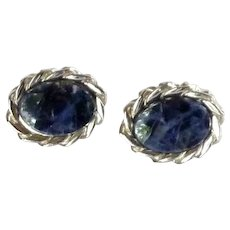Swank Silver Tone Blue Stone Cufflinks Cuff Links