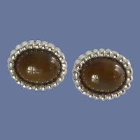 Silver Tone Brown Faux Stone Cufflinks Cuff Links