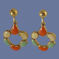Enameled Yellow, Orange and Green Clip On Earrings