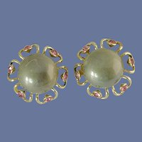 Grey Cabochon & Pink Rhinestone Gold Tone Clip On Earrings