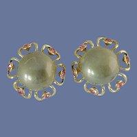 Grey Cabochon & Pink Rhinestone Gold Tone Clip On Earrings