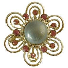 Grey Cabochon & Pink Rhinestone Gold Tone Brooch Pin
