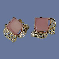 Coro Clip On Pink Lucite Gold Tone Earrings