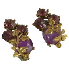 Gold Tone Purple Rhinestone Clip On Earrings