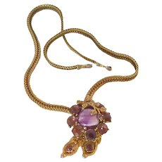 Gold Tone Purple Rhinestone Statement Necklace