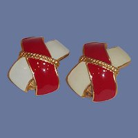 Red White and Gold Tone Clip-On Earrings