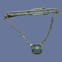 Swank Silver Tone Blue Cabochon Chain Tie Bar