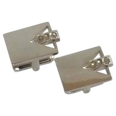 Silver Tone with Diamond Rhinestone Cufflinks Cuff Links