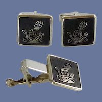 Kinney Co. American Indian Cufflinks Cuff Links and Tie Clip Bar