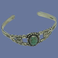 Navajo Turquoise and Sterling Silver Child Bracelet 1950