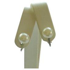 Small Faux Single Pearl Clip On Earrings