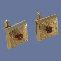 Swank Gold Tone with Maroon Faux Pearl Cufflinks Cuff Links