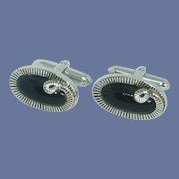 Swank Black Oval Silver Tone Snake Design Cufflinks Cuff Links