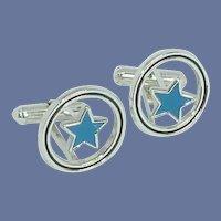 Blue Suspended Star Silver Tone Cufflinks Cuff Links