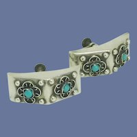 Sterling Silver Turquoise Stone Screw On Earrings