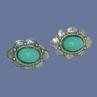 Turquoise Flower Oblong Screw On Earrings