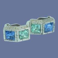 Blue Aqua Givenchy Paris Clip-on Earrings