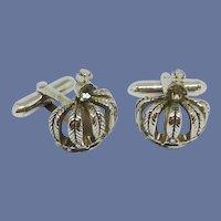 Swank Silver Tone Crown Peridot Rhinestone Cuff Links Cufflinks