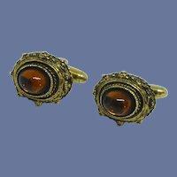 Gold Tone Glass Cabochon Cufflinks Cuff Links
