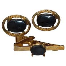 Black Onyx Gold Tone Cufflinks Cuff Links Tie Clip