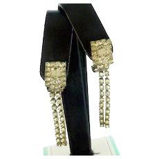 Dangle Rhinestone Diamond Clip On Earrings