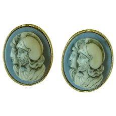 Roman Cameo Soldiers Gold Tone Blue Cuff Links Cufflinks
