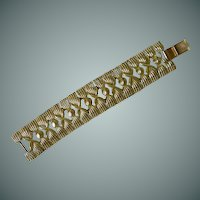 Signed Coro Gold Tone Wide Mid Century Bracelet