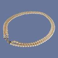 1960's Two Strand Faux Pearl Marvella Necklace Rhinestone Clasp