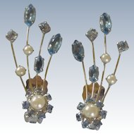 Vintage Blue Rhinestone & Faux Pearl Spray Silver Tone Clip on Earrings