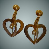 Gold Tone Dangle 3-D Heart with Faux Pearl Earrings
