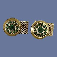 Green Rhinestone Round Wrap Around Cufflinks Cuff Links