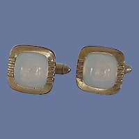 Square White Moon Glow Gold Tone Cuff Links Cufflinks