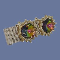 Dante Multi Colored Rhinestone 1960s Cuff Links Wrap Around